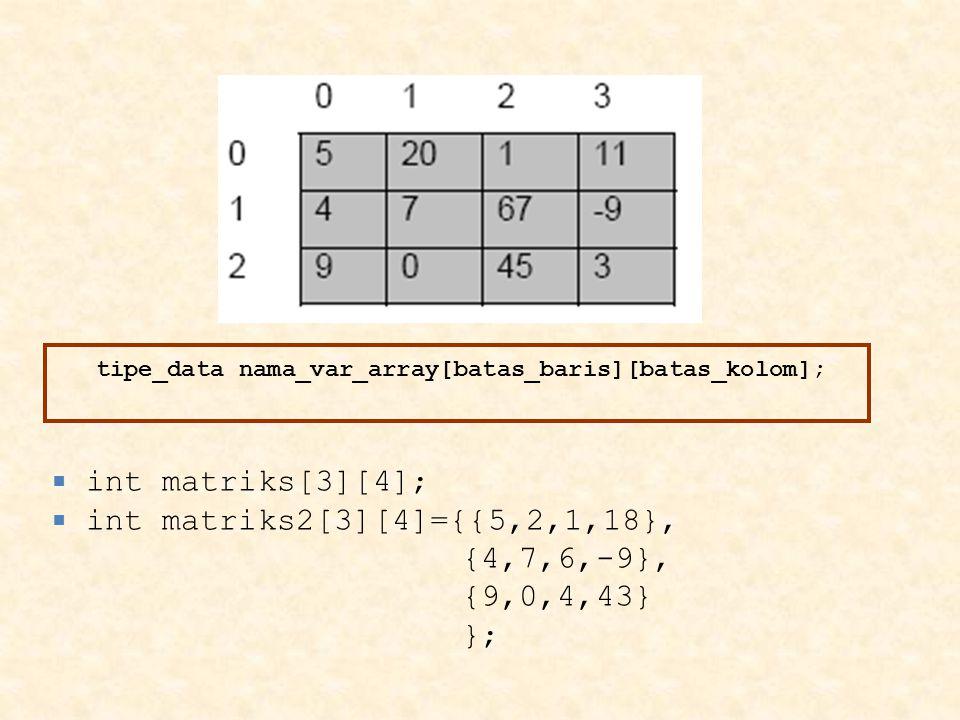 tipe_data nama_var_array[batas_baris][batas_kolom];
